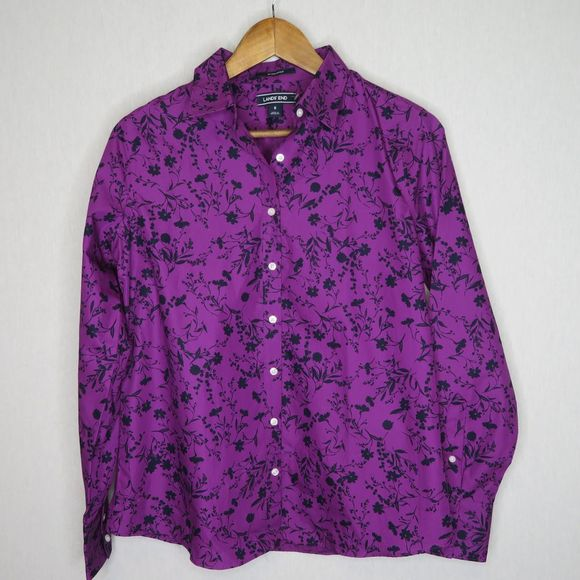 Lands End long sleeve button down blouse size 6